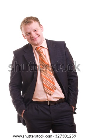 Happy businessman portrait isolated over white
