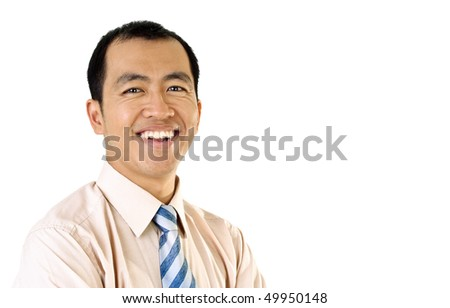 Happy businessman portrait with smile expression on white background. - stock photo