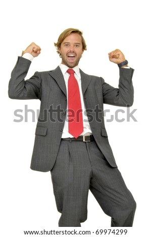 Happy businessman posing isolated in white
