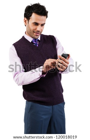 happy businessman reading or sending text message or sms on mobile phone - stock photo