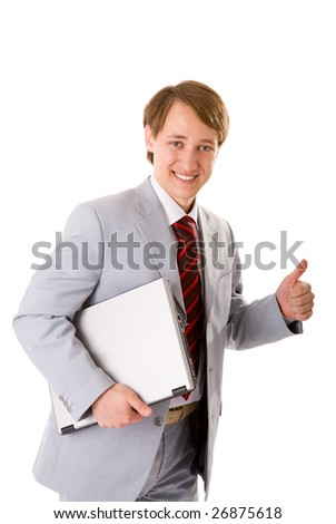 Happy Businessman ready to close the deal isolated - stock photo