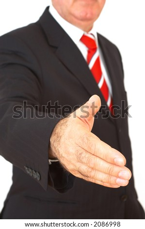 happy businessman ready to handshake on white background