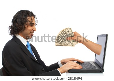 happy businessman receiving us dollars from laptop - stock photo