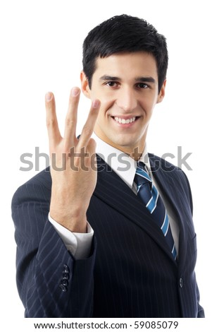 Happy businessman showing three fingers, isolated on white