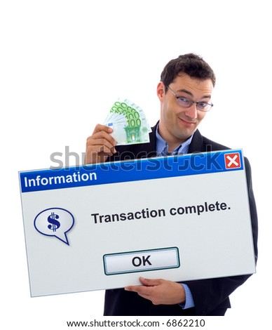 Happy businessman showing transaction complete dialog board - stock photo