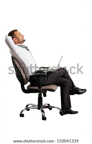 happy businessman sitting on office chair. isolated on white background - stock photo