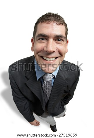 Happy businessman smiling face closeup on white - stock photo