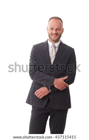 Happy businessman smiling, looking at camera, wearing suit. - stock photo