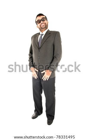 Happy Businessman standing on white background . - stock photo