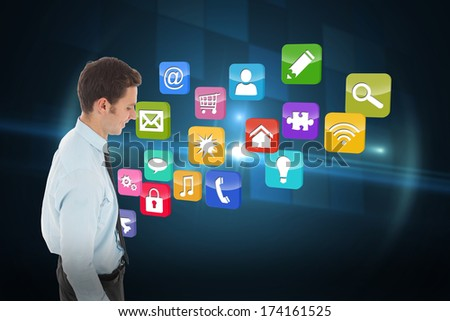 Happy businessman standing with hand in pocket against technical background with squars