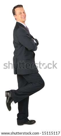 happy businessman stands on one leg,  lean one's elbows