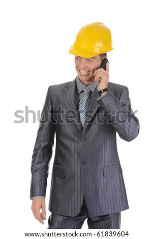 Happy businessman talking on the phone. Isolated on white background - stock photo