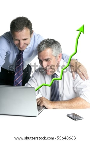 happy businessman team on computer good sales reports graph arrow chart [Photo Illustration]