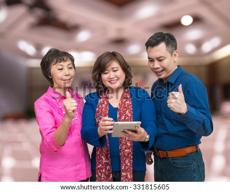 Happy Businessman Teamwork on Conference meeting room blurred photo background, business concept