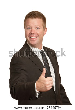 Happy businessman thumbs up gesture on white background - stock photo