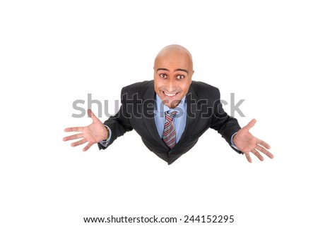 Happy businessman viewed from above isolated in white - stock photo