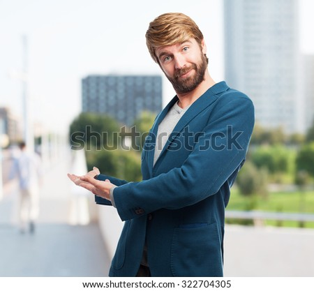 happy businessman welcome gesture - stock photo