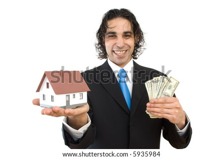 happy businessman with a house and US dollars for real estate concept