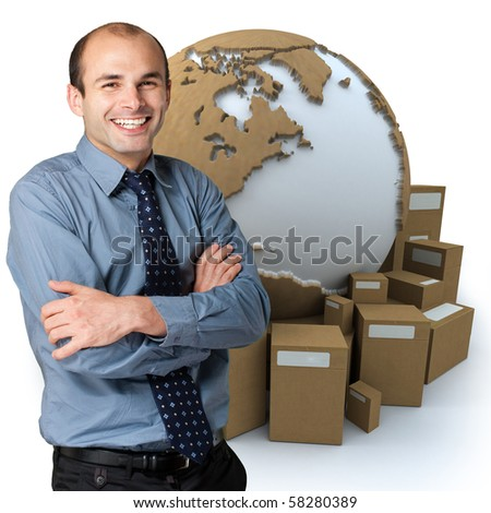 Happy businessman with a world map and  packages on the background