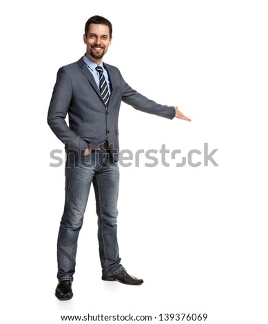 Happy businessman with arm out in a welcoming gesture, isolated on white background  - stock photo