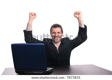 happy businessman with arms wide open - stock photo