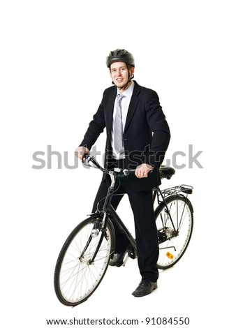 Happy businessman with bicycle and helmet isolated on white background - stock photo
