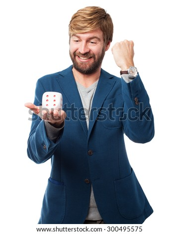 happy businessman with dice