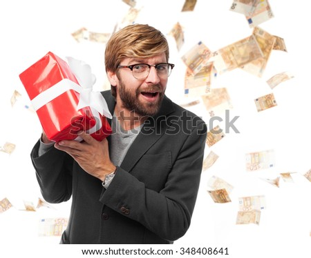 happy businessman with gift - stock photo