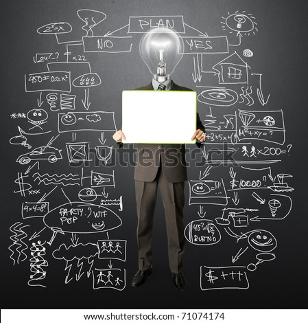 happy businessman with lamp-head holding blank white card in his hands - stock photo