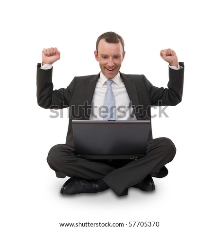 Happy businessman with laptop isolated on white - stock photo