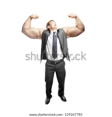 happy  businessman with muscles hand - stock photo