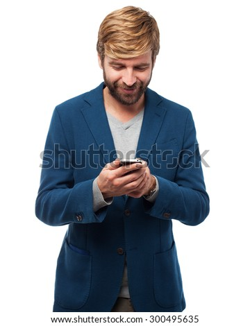happy businessman with telephone - stock photo