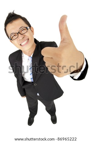 happy businessman with thumb up - stock photo