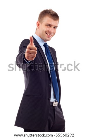Happy businessman with thumbs up gesture, isolated on white - stock photo