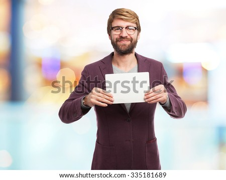happy businessman with visit card - stock photo