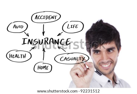 Happy businessman writing an insurance solution diagram on the whiteboard (selective focus) - stock photo