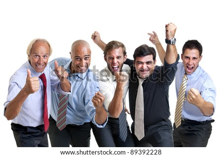 Happy businessmen team isolated in white - stock photo