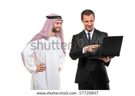 Happy businessmen with a laptop computer against white background
