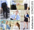 Happy businesspeople and business corporate success - stock photo