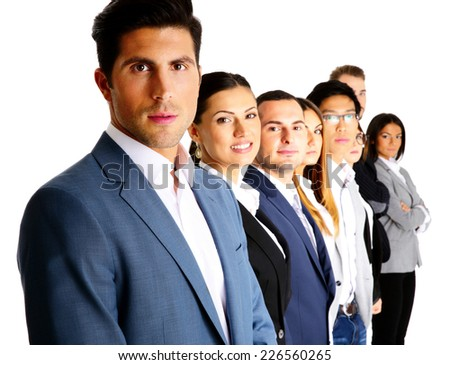 Happy businesspeople standing in a row over white background - stock photo
