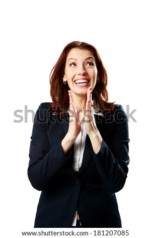 Happy businesswoman applauding isolated on a white background - stock photo
