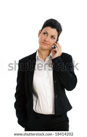 Happy businesswoman calling on mobile phone, smiling, isolated on white.