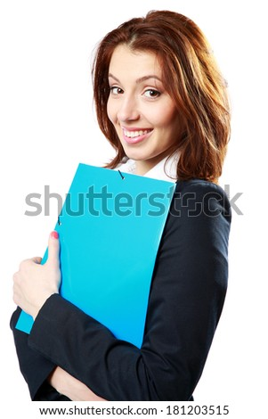 Happy businesswoman holding notebook isolated on white background - stock photo