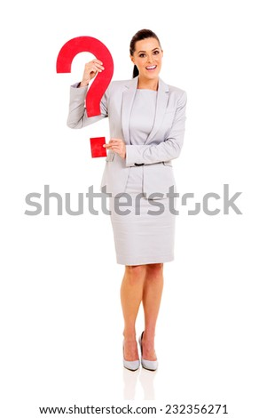 happy businesswoman holding question mark isolated on white - stock photo