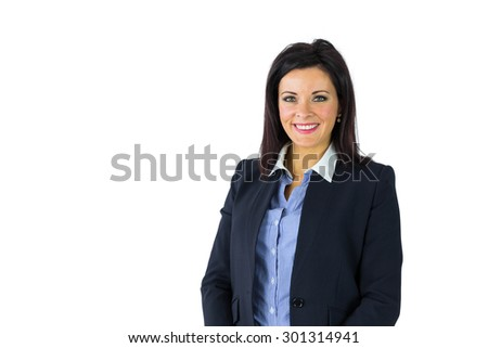 Happy businesswoman looking at camera on white background