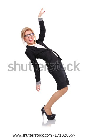 happy businesswoman on a white background