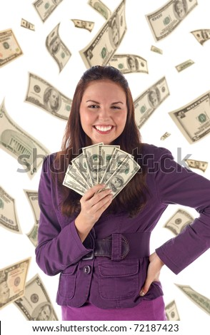 Happy businesswoman on dollars background - stock photo