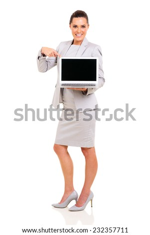 happy businesswoman showing laptop blank screen isolated on white - stock photo