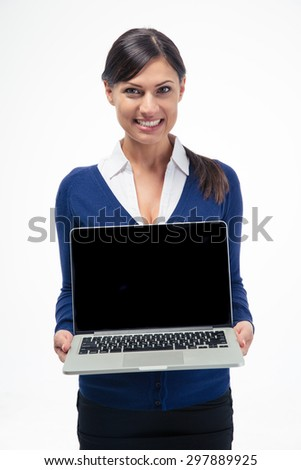 Happy businesswoman showing laptop computer screen isolated on a white background - stock photo