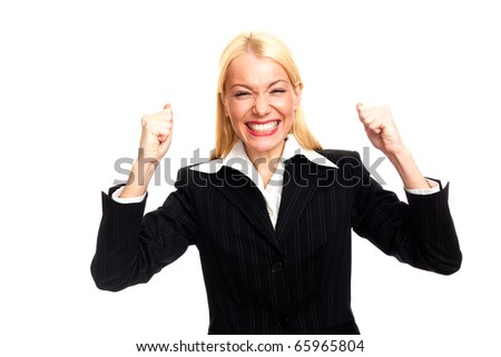 Happy businesswoman showing success - stock photo